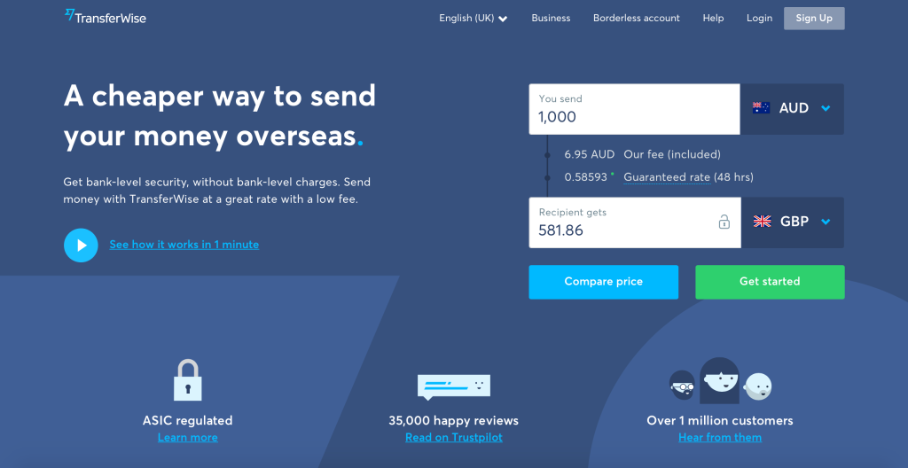 TransferWise Landing Page
